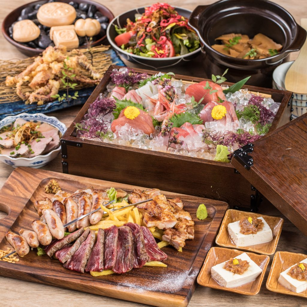 【8月限定】肉と魚 W堪能コース*肉盛り&お造り盛り合わせ付き*2時間プレミアム飲み放題8品5000円
